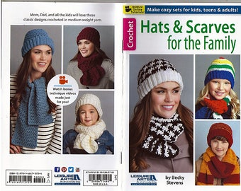 Hats & Scarves For The Family Crochet Pattern Book   Leisure Arts 75499