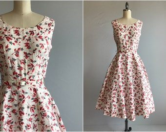 Vintage 1940s Dress / 40s Cotton Floral Print Sundress with Circle Skirt and Belt