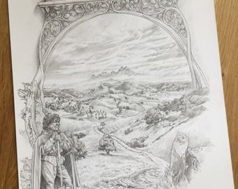 The Lord of the Rings art Tolkien print -  The Road Goes Ever On and print - Gift for a Tolkien fan.