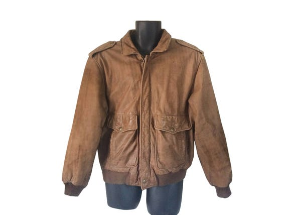 Brown Leather Bomber Jacket Men Leather Bomber Jacket 90s