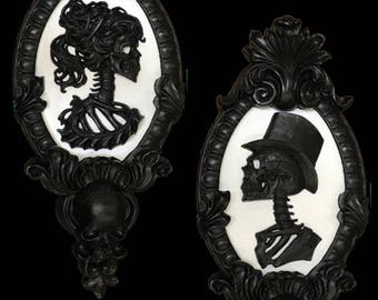 Gothic Victorian Skeletal Cameo Black & White SET