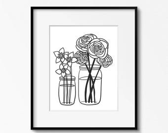 Flower Jar 8x10 printable - digital download - black and white art - DIY home office decor - classroom decor - printable wall art