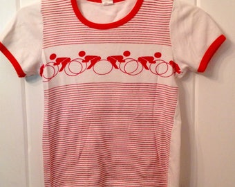 Vintage 70s era babydoll style t shirt top bicycles small size
