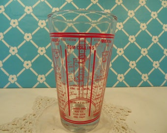 Mid Century Libbey Cocktail Mixer Glass - Red Print Graphics - Drinks Recipes -Vintage Bar