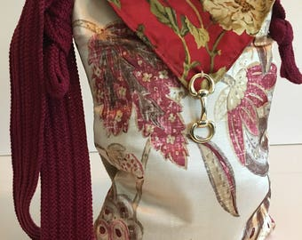 Floral Crossbody Bag, Floral Bag, Crossbody Bag, Crossbody Tote, Floral Tote, Recycled Purse, Boho Tote, Hippie Bag, Ladies Handbags, Purses