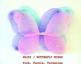 FAIRY or BUTTERFLY Wings, Fairy Wings, Butterfly Wings, DIAMOND Embellished, Garden Party, Halloween Costume,
