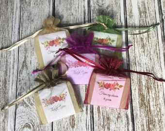 Summer Flowers Soap Favors For Shower With Organza Bags 100% Natural Cold Processed