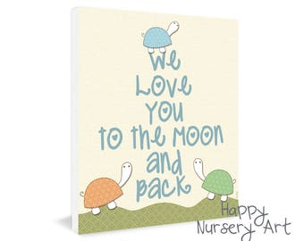 Love you to the moon and back, baby boys wall art, Nursery wall art, nursery design,love quote art print, nursery decor, turtles wall art