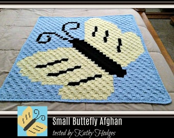 Small Butterfly Afghan, C2C Graph, Written Word Chart