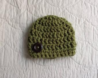 Baby Beanie, Baby Hat, Green Hat, Baby Beanie, Crochet hat, Newborn, Infant, Chunky Hat, Photo Prop, Baby Gift, Baby Boy