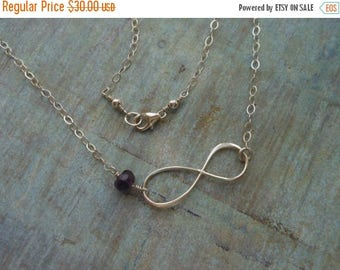Christmas in July SALE Custom Necklace, Birthstone Necklace, Sterling Silver Infinity, Birthday Gift,Infinity Jewelry, Gemstone, Infinity Sy