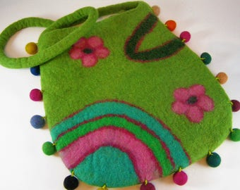 Fun and Zany Multicolor Handcrafted Felted Wool Shoulder Bag. Gold Interior. Zippered. Lime Green with Pink and Blue. Made in Nepal. Boho.