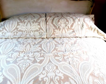 """Bedspread 3 pc French Toile King w 2 Euro Pillow shams White Flowers on beige Matalesse- 98 x 98 """""""