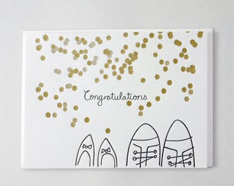 Letterpress Congratulations card for a Wedding
