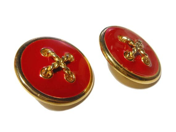 Red nautical earrings, red and gold, button style with gold crisscrossed rope on red enamel with gold rims, nautical clip earrings