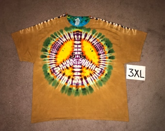 Tie Dye T-Shirt ~ Fire Peace Sign/Palomino Gold Background i_6066 Double Extra Large