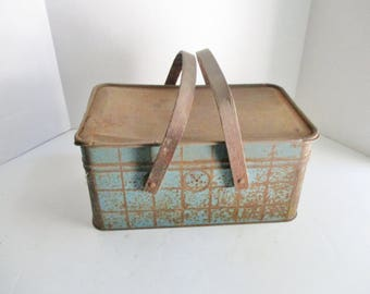 Vintage Tin Basket with Handles Blue and White Plaid Biscuit Box Rusty Picnic Basket Lunch Box