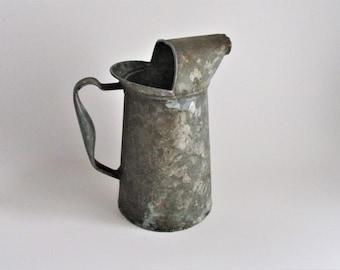 Vintage Oil Pitcher Galvanized Metal Rustic Farmhouse Industrial Decor Metal Vase
