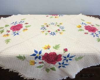 Heavy Woven Lunch Cloth Bright Painted Flowers Fringe Edge