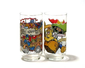Great Muppet Caper Glasses Jim Henson Happiness Hotel With Kermit Fozzie Miss Piggy and Gonzo Two Glasses  McDonald's 1981
