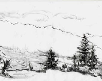 Trees, Mountain and Sky Sketch