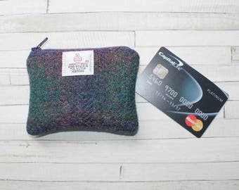 HARRIS TWEED coin purse, change purse, purple and green check pattern