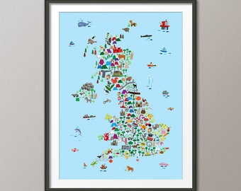 Great Britain Animal Map for children and kids, UK Map, Art Print (2848)