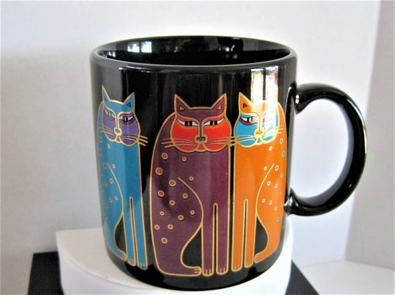 Laurel Burch Mug -   Siamese Cats - 3 Cats Sitting - Vintage Cat Lovers Cup