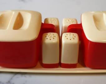 Vintage Federal Tool Corp. Red and Cream Hostess Set Sugar Cream Salt & Pepper Set