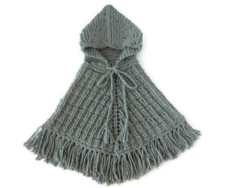 Toddler Boho Poncho, 12-18 Months, Girl Hooded Sweater, Boy Gray Jumper, Hand Knit Cape With Fringes, Ready To Ship