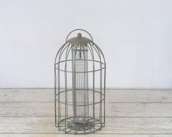 Bird Feeder Vintage Wire Bird Feeder Weathered Thistle Feeder Sunflower Seed Feeder