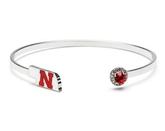 University of Nebraska Bangle Bracelet | Nebraska Cornhuskers Bracelet | UNL Jewelry | Officially Licensed by University of Nebraska