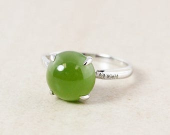 FLASH SALE Round Siberian Jade Ring – White Diamonds – 18KT White Gold