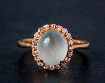 FLASH SALE Icy Green Jadeite Oval Ring - Halo Diamonds - 10Kt Rose Gold