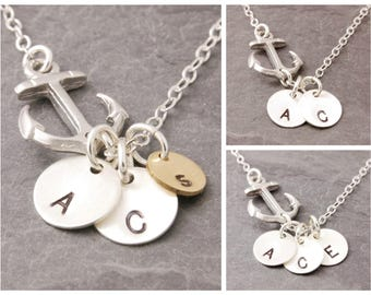 Initial Disc Necklace, 1-5 initials, anchor necklace, mother daughter, sisters necklace, navy wide necklace, personalized jewelry, N20