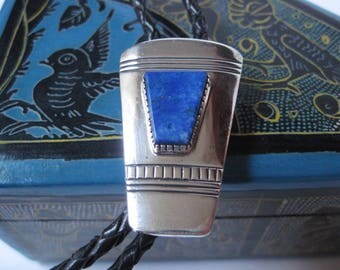 Vintage Signed Sterling and Lapis Bolo Tie