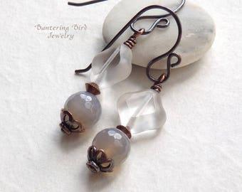 Simple Grey Earrings, Agate Stone with Clear Diamond Glass Bead Dangle, Unusual Boho Copper Jewelry