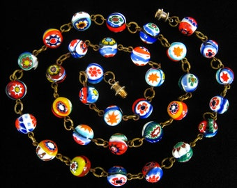"""Vintage Millefiore Bead Necklace Circa 1960. 20"""" Necklace.  Each Bead Linked to the Next. Multicolor. Joyous. Vintage. Murano. Art Glass."""
