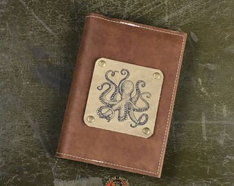 """5 """"X 7"""" Refillable Leather Journal-Octopus"""