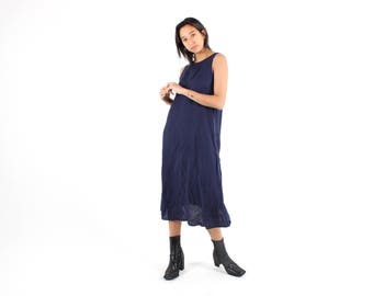 90s Minimal LINEN Navy Blue Simple Loose / Relaxed / Floaty Midi Summer Dress