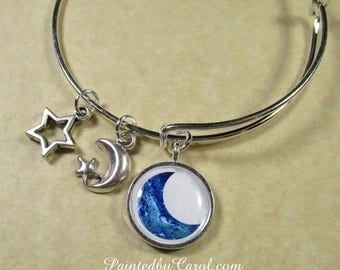 Blue Moon Bangle, Blue Moon Bracelet, Moon Jewelry, Moon Gifts, Celestial Bangle, Celestial Bracelet, Celestial Jewelry, Celestial Gifts