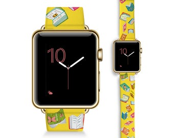 Yellow Books- Apple Watch 42mm & 38mm bands / Apple Watch Band (42mm, 38mm)  Leather Watch Band / Apple Watch - genuine Leather