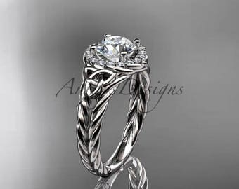 """Platinum halo rope celtic triquetra engagement ring with a """"Forever One"""" Moissanite center stone RPCT9131"""