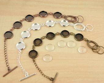 50 SETS / 50 Assembled Bracelet Settings. Optional 250 Glass Domes, 250 or 500 SEALS, 12mm  Blank 5 Bezel Photo Charm Bracelet  - Adjustable