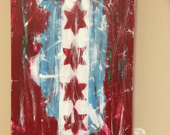 Chicago flag painted on Illinois state