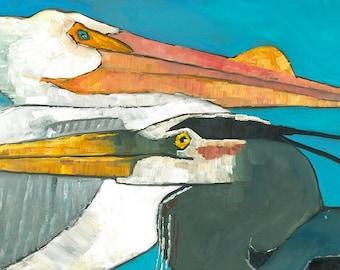 Birdstack  Pelican and Heron