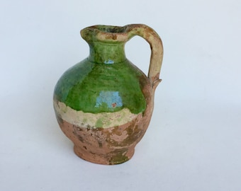 Antique french country terra cotta pitcher  water glazed XVIIIè