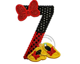 Red and black birthday number 7 with glitter bow iron on embroidered applique, 7th birthday patch for girl, Minnie inspired iron on applique