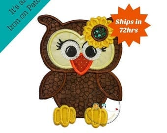 ON SALE NOW Fall girl owl - iron on embroidered fabric applique patch