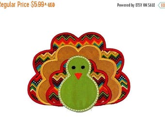 ON SALE NOW Fall turkey fabric iron on applique- Thanksgiving turkey no sew embroidered patch- ready to ship